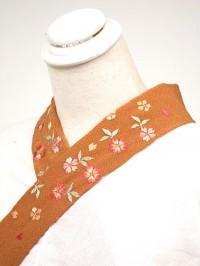 茶系・刺繍衿